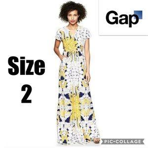 Gap Dawn Maxi Dress Yellow Print Size 2